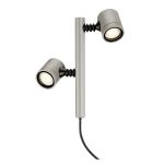 SLV MYRA 2 Outdoor Spiessleuchte, zweiflammig, LED GU10 51 mm, IP44, silbergrau, 18W