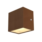 SLV SITRA CUBE WL LED Outdoor Wand- und Deckenaufbauleuchte, rost farbend, IP44, 3000K, 10W