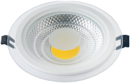 mlight LED-COB Glasdownlight round, 30W, 230V, 4000K, 120°, 2700lm, 30000h, A+, nicht dimmbar, Farbe, weiss