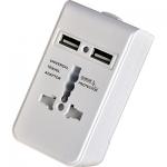 i-Light Universal Adapter, max. 2.500 Watt, 2x USB, weiß