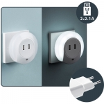i-Light Automatsches Nachtlicht 2W + 2 USB 2.1A