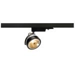 SLV KALU TRACK Spot für Hochvolt-Stromschiene 3Phasen, QR111, schwarz, max. 50W, inkl. 3Phasen-Adapter