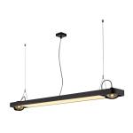 SLV AIXLIGHT R2 OFFICE LED LONG, Pendelleuchte, schwarz, LED +2xQPAR111, max. 75W, 153cm