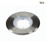 SLV DASAR FLAT LED 230V Bodeneinbaustrahler, rund, 4, 3W LED, weiß, Edelstahlblende