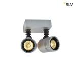 SLV NEW MYRA WALL SPOT Wandleuchte, silbergrau, 2x GU10, max. 2x 50W, IP55