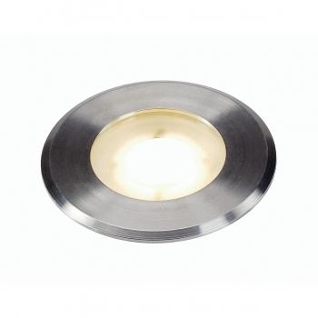 SLV DASAR FLAT LED 230V Bodeneinbaustrahler, rund, 4, 3W LED, warmweiß, Edelstahlblende
