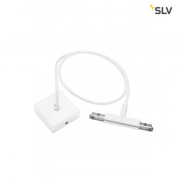SLV MITTELEINSPEISER, für D-TRACK 2 Phasen Stromschiene, weiß, mit 2m Kabel und Gehäuse