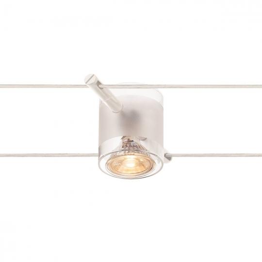 SLV COMET Seilleuchte für TENSEO Niedervolt-Seilsystem, QR-C51, weiß, teilsatiniertes Glas